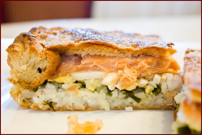 Пирог с рыбой и рисом из дрожжевого теста рецепт пошагово