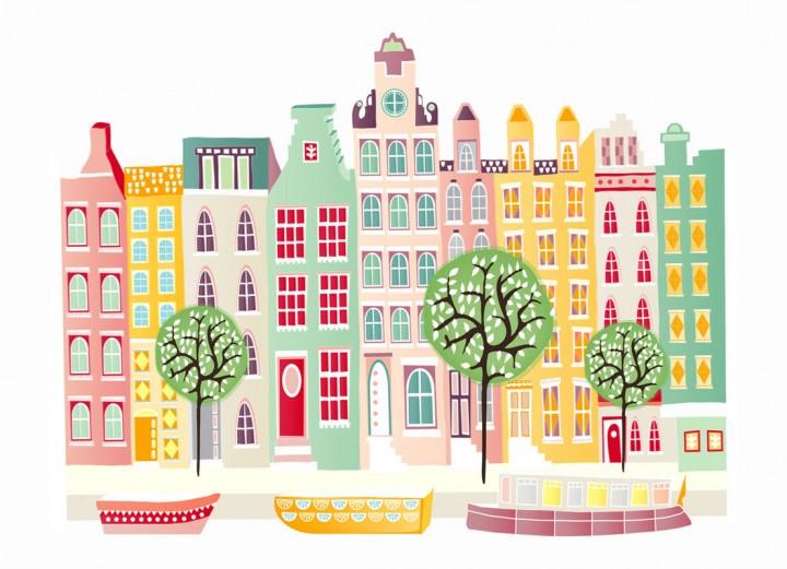 Городские доме рисовать