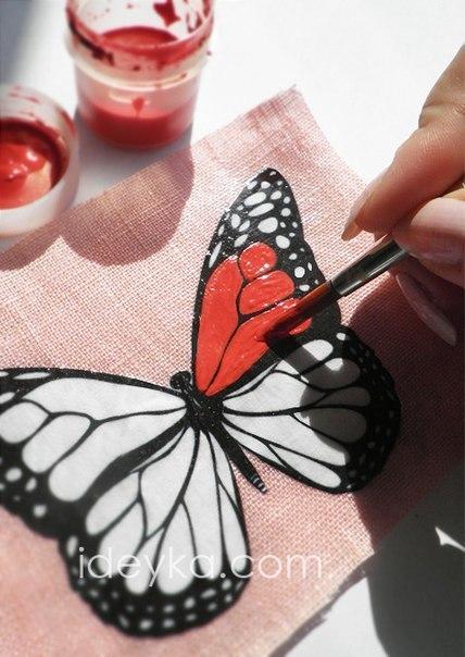 Бабочка своими руками раскрашенные