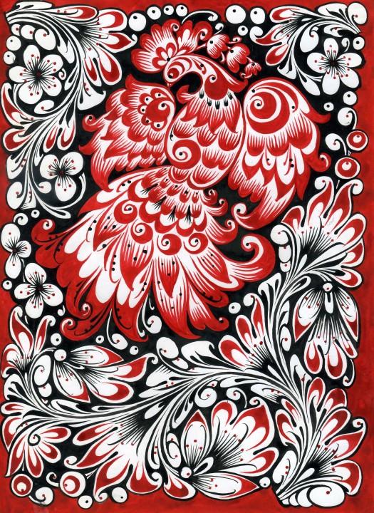 Хохломская роспись птицы