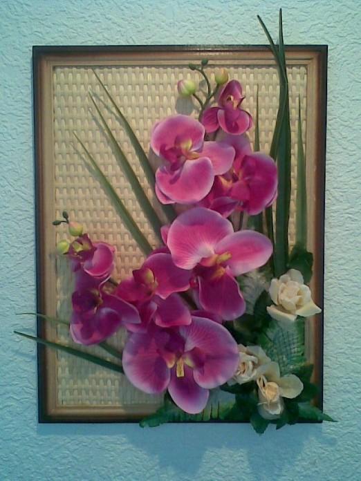 Картины своими руками из искусственных цветов мастер