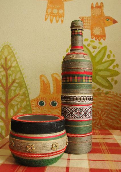 Декор бутылки пряжей