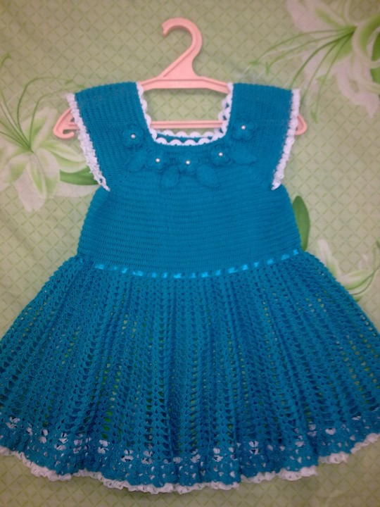 Вязаные платья для девочек до 1 года крючком