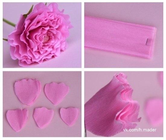 Пошагово цветок из гофрированной бумаги своими руками