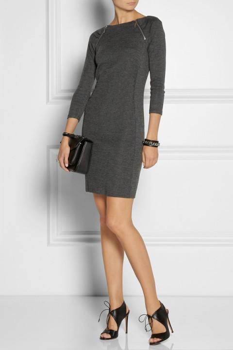 Серые платья для офиса