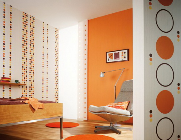 Дизайн стен. обои в комнате