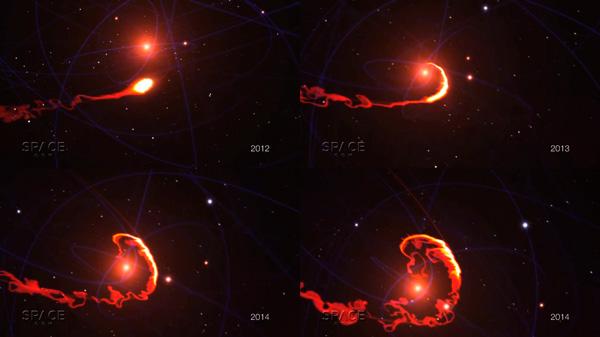 Кадры из симуляции поглощения газового облака G2 черной дырой