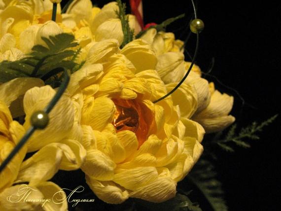 Букеты из конфет своими руками хризантемы