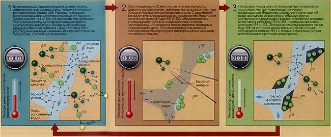 Моделирование процесса возникновения продуктов расщепления и их радиоактивного распада показало, что специфический изотопный состав ксенона - следствие циклического действия реактора