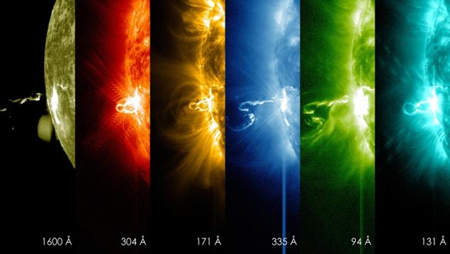 Вспышка X4.9 24 февраля 2014 года на снимках солнечной обсерватории НАСА Solar Dynamics Observatory в разный частотных диапазонах.