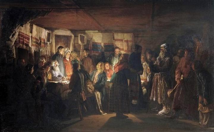 Василий Максимов. Известные картины - Приход колдуна на крестьянскую свадьбу, 1875