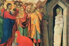 Воскресение Лазаря, фрагмент, Дуччио ди Буонинсенья, 1308-11 гг.