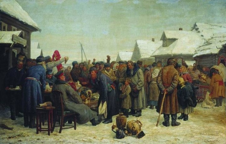 Василий Максимов. Аукцион за недоимки, 1880-1881