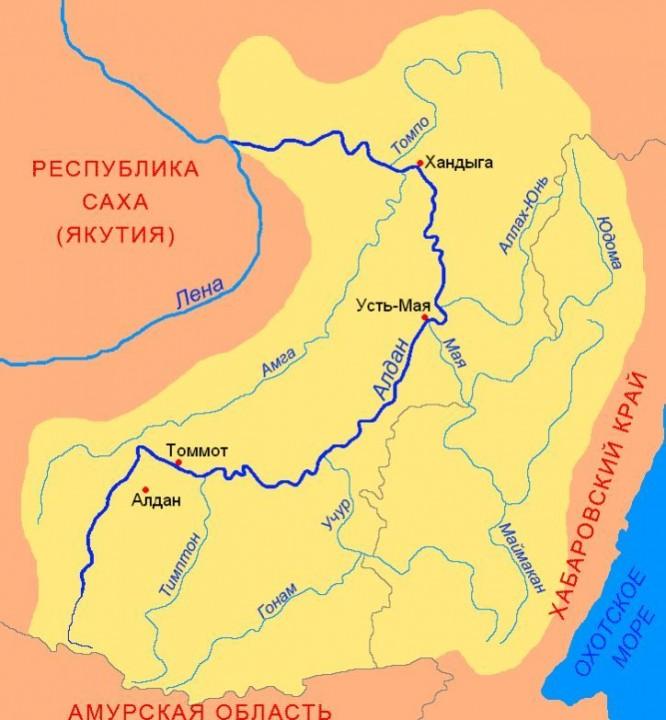 Карта реки Амга